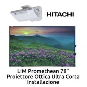 """Promethean 78""""+ Ultra corto Hitachi CP-AX2505 + installazione"""