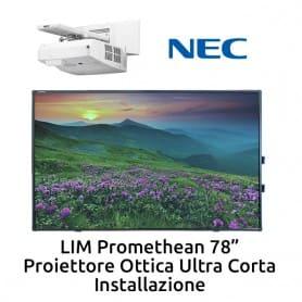 """Promethean 78""""+ Ultra corto NEC UM361X + installazione"""