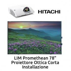 """Promethean 78""""+ Hitachi CP-CX301WN Ottica Corta + Installazione"""